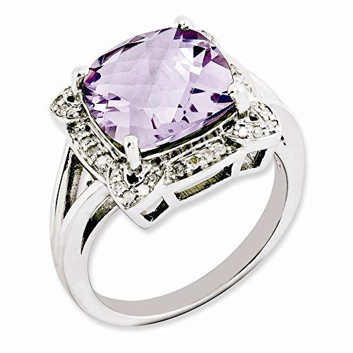 Plata de ley rosa con cuarzo y anillo de diamantes en bruto - tamaño N 1/2 - JewelryWeb