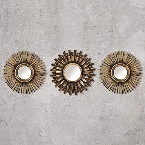 HomeZone 3pc Shabby Chic Rund Sunburst Wandspiegel in Gold oder Silber, Dekorative Wandmontage Shabby Chic Heim Dekoration - Gold