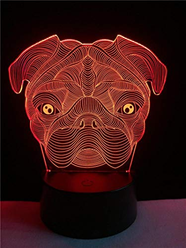 Lámpara 3D Con Forma De Perro Shar Pei Animal Lindo Led Usb Mood Night Light Multicolor Touch Remote Luminaria Cambiar Lámpara De Mesa