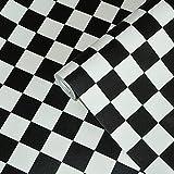 Dach Schwarz Weiß Quadrat Karierte 3D Papier Tapeten Salon Shop Bekleidungsgeschäft Restaurant Checkout Ktv Hintergrundbild 10 Mt * 53 cm 3695
