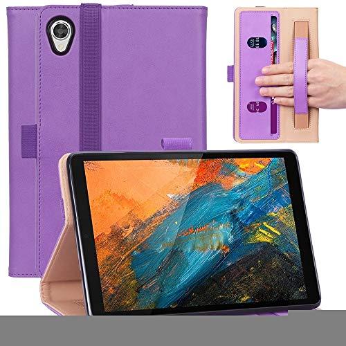 XHEVAT Funda de piel sintética para Lenovo M8 con textura retro + TPU horizontal, con soporte, ranuras para tarjetas y correa de mano, color morado