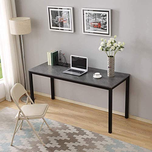 Need Large Computer Desk Writing Desk for Home Office 60' Length AC3LB-E1 Slate Ash Colour Tabletop & Matte Black Frame Breakroom Table