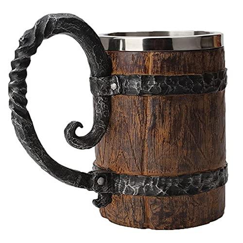 Barril de madera retro resina de acero inoxidable taza de cerveza 3D taza de juego taza de café tazas de copa de vino 550 ml mejor regalo GOT