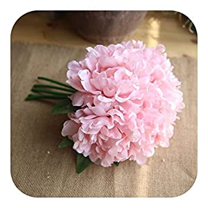 Grass Artificial Flowers, 5pcs White Silk Peony Big Flowers Head Wedding Decoration Fake Bouquet Home Decorative Faux Flower,Pink