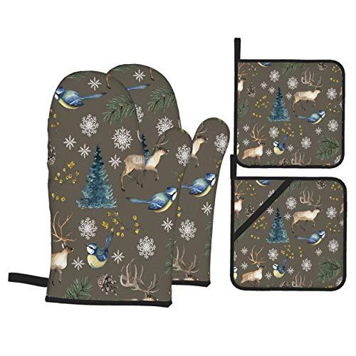 Juegos de Manoplas y Porta ollas para Horno,Patrones Navidad Sin Fisuras con Aves Ciervos Árbol Guantes de Cocina Resistentes al Calor para Hornear en la Cocina, Parrilla, Barbacoa,BBQ