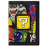 Cartera de Super Mario Bloque de Preguntas Bowser Bob-omb Negro