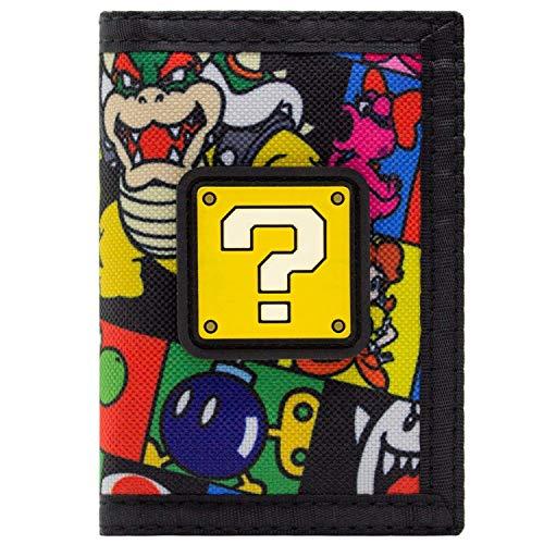 Super Mario Blocco di Domande Bowser Bob-omb Portafoglio Nero