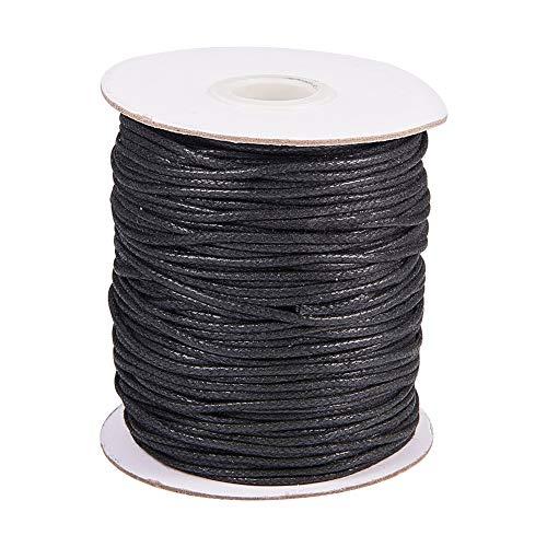 PandaHall 100 Yardas 1.5mm Negro Hilo de cordón de algodón Encerado Cadena de Abalorios para la fabricación de la Joya y Suministros de macramé