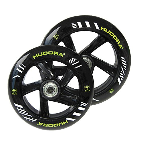 HUDORA Unisex Jugend Big Wheel Bold PU-Rolle, schwarz/grün, 145/125 mm