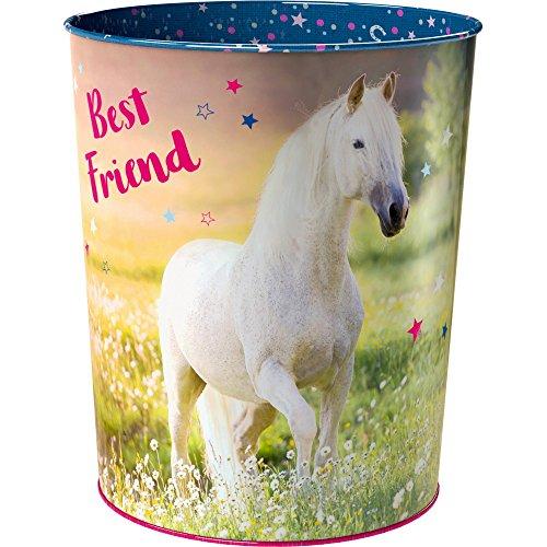 Spiegelburg 14520 Decorazione Camera Bambini Cestino Motivo Cavallo Bianco Best Friend Ø 20 cm