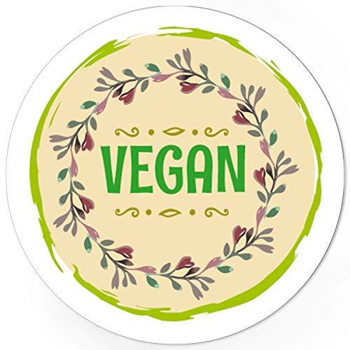 48 runde Design Etiketten - VEGAN - Aufkleber passend für Vegetarisch Hotel Buffet Essen Nahrungsmittel - Motiv: Zweige grün