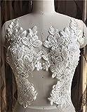 Bordado floral de encaje apliques con lentejuelas para coser en vestidos de novia, vestidos completos, velos, manualidades, 1 par