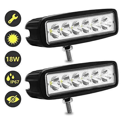 Hengda 2x 18W LED Arbeitsscheinwerfer, 12V 24V Zusatzscheinwerfer, Wasserdicht IP67 Scheinwerfer, Rückfahrscheinwerfer für Auto, Traktor, Offroad, PKW, KFZ, 1620LM, 6500K