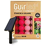 Guirlande d'extérieur boules lumineuses Guinguette LED - Étanche IP65 - Panneau solaire haut rendement - ON/OFF automatique - 16 boules 6m - Cerise