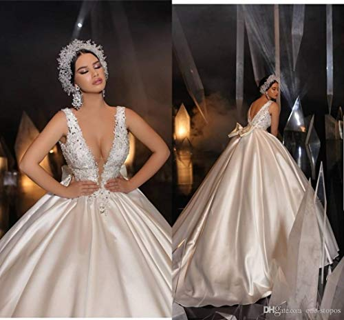 Wedding dress,prom dresses Tamaño atractivo de la espalda abierta cuello en V profundo del vestido de bola del vestido apliques White Plus Arabia árabe Dubai del vestido de novia por encargo evening d