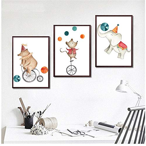 Pintura decorativa Circo Animales Oso Elefante Montar con ratón Dormitorio de los niños Sala Imagen Lienzo-50x70 cm / 19.7