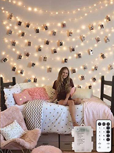 10M LED Lichterkette Batterie für Fotos mit Fernbedienung, Lichterkette dimmbar und Timer Funktion, Fotoclips Lichterkette mit 50er Klammern für Zimmer Deko, Fotowand,Geburtstag Geschenk, warmweiß