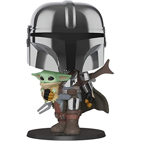 Funko Pop! Star Wars. The Mandalorian - 10 Inch Chrome Mandalorian With the Child, Multicolor