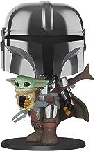 "Funko Pop! Star Wars: Mandalorian - 10"" Chrome Mandalorian with The Child, Multicolor (49931)"