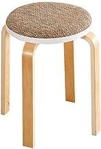Yxsdd Stool Stool Kitchen Dining Chair Stool Round Chair Wood Dustproof Dresser Stand Makeup Stool Linen Seat Cushion Fabr...