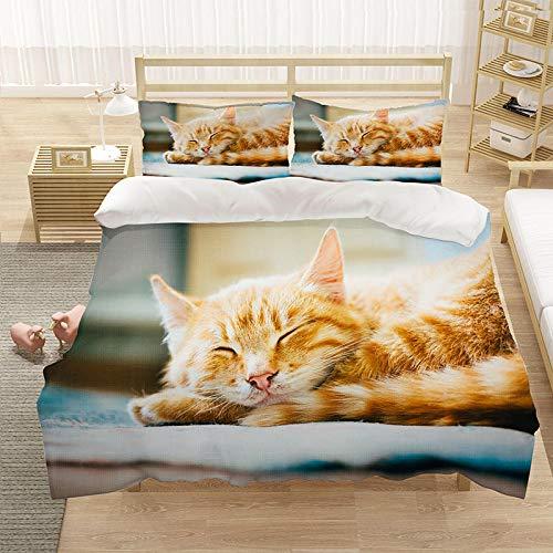 Bedclothes-Blanket Cubierta de la Cubierta del edredón para niños 3D Cubierta de Cama de 3 Piezas Super King Tamaño Animal Cat Blue Eye Eye Eye Funda de Cama con Cierre de Cremallera-2_180 * 210cm