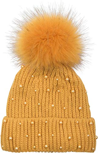 styleBREAKER Damen Strick Bommelmütze mit Perlen und Fleece Futter, warme Winter Fellbommel Mütze, Fake Fur 04024155, Farbe:Curry