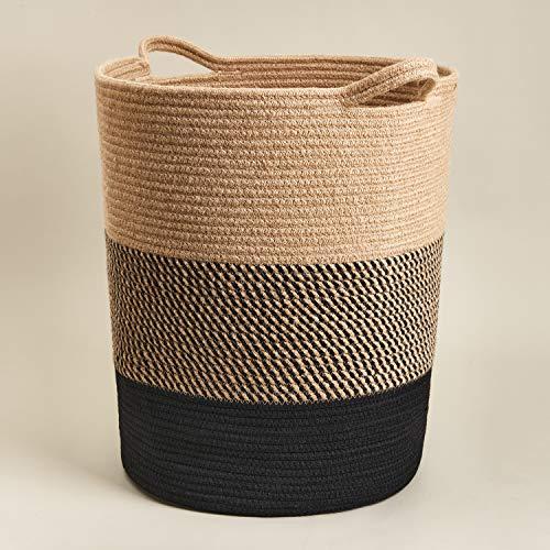 Goodpick Cesta de cuerda de algodón grande – Cesta de lavandería alta para ropa sucia, cesta de almacenamiento tejida para manta en sala de estar, cesta de juguetes para guardería, 41 x 35 cm