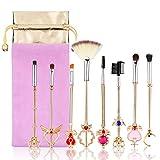 DOXMAL Juego de 8 brochas de maquillaje Sailor Moon Brochas de Maquillaje Esenciales Cerezo Blossom Juegos de Maquillaje Brochas de Maquillaje para Mujeres Regalos
