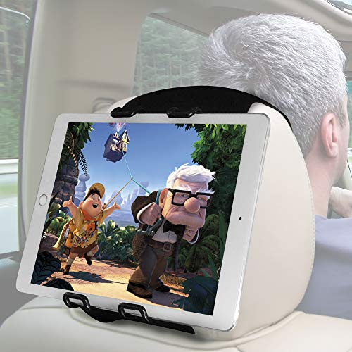 Macally Tablet Car Headrest Mount Holder for Kids in Back Seats - Adjustable Strap Fits Most Headrests - Universal Fit for Tablets with 5-11' Screens and for Apple iPad Mini/Air/Pro 9.7 10.5 etc