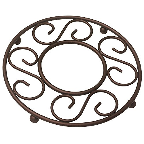 Home Basics Scroll Collection Steel Trivet for Hot Dishes, Pots And Pans, Round Design, For Kitchen & Dinning Table, Bronze