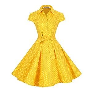 BI.TENCON Women's Yellow Polka Dot Casual Belted Vintage Party Swing Dress Cap Sleeve S