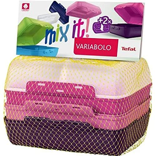 Tefal Variabolo Set of 3 Lunchboxes with Interchangeable Lids and Bases Pink