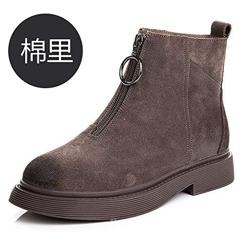Shukun enkellaarsjes Martin laarzen voor rits Women'S Booties herfst en winter Frosted Pu enkele laarzen dik met zwarte platte laarzen
