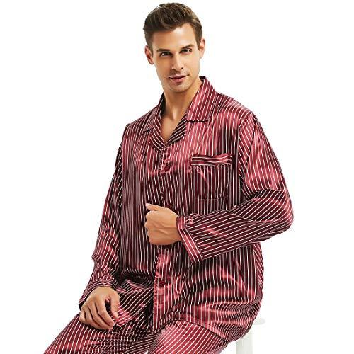 Herren Seide Schlafanzug Pyjama Rot XX-Large