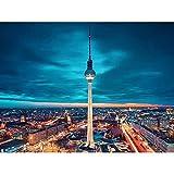 Pintura de mosaico redonda completa 5D DIY pintura de diamante paisaje bordado diamante Berlín TV torre decoración