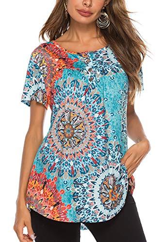 Bequemer Laden Tshirt Damen Sommer Tunika Knopfleiste Oberteile Kurzarm T-Shirt Casual locker Longshirt Bluse Tops