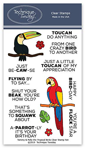 Tommy & Polly The Tropical Birds Stamp Set - Photopolymer Stamps | Clear Rubber Stamps | Card Making Supplies