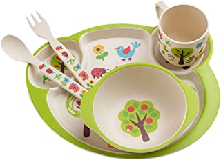TOYANDONA 1 Set/5PCS Baby Dinner Cutlery Set Dinner Plates Bowl Cup Spoon and Fork Set for Babies Children (Green)