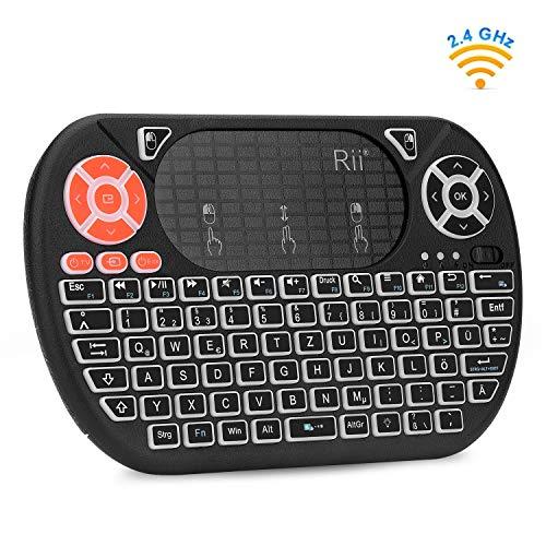 Rii F8 Mini Tastatur Wireless, Kabellos Tastatur mit 8 IR-Lerntaste, LED Hintergrundbeleuchtung und Touchpad für Smart TV, HTPC, IPTV, Android TV-Box, PC (Deutsches, Schwarz)