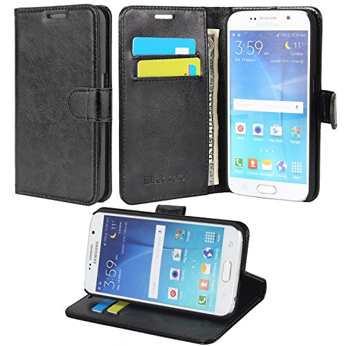 S6 Case, Wisdompro Premium PU Leather 2-in-1 Protective Folio Flip Wallet Kickstand Case with Credit Card Holder for Samsung Galaxy S6 Only - Black with Stand