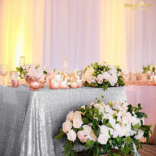 ShinyBeauty 60inx102in Sequin Tablecloth-Rectanglar-Silver-for Wedding/Christmas/Black Friday Party Linen (Silver)