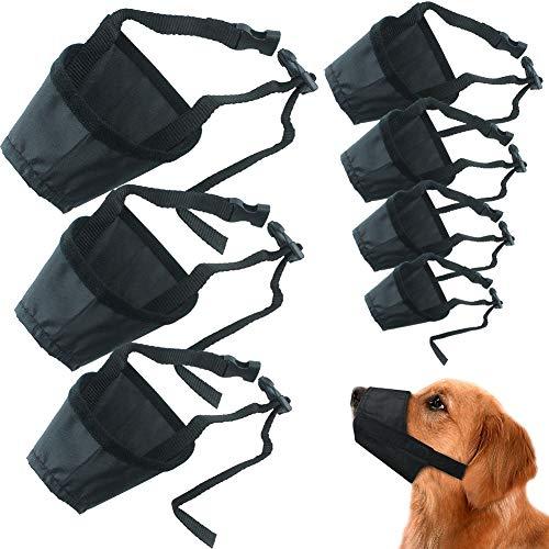 REYOK Nylon Hund Maulkorb, 7 PCS Einstellbare atmungsaktive Sicherheit Haustier Hund Maulkörbe Anti-Biss Anti-Bellen Anti-Kauen Sicherheitsschutz, geeignet für kleine mittlere große Hund