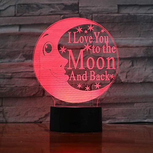 3D Licht Nachtlampje Ik hou van U Maan 3D Nachtlampje Led Lamp Kleurrijke Sfeer Gadget Decor Slaapkamer Baby Meisje Kids Geschenken3D Geschenken Speelgoed Lampstairs