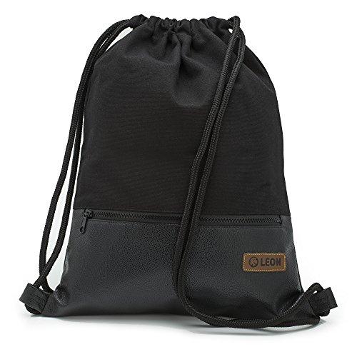 By Bers LEON Turnbeutel, große Reißverschluss Außentasche, mit Innentaschen Rucksack Tasche Damen Herren & Teenager Gym Bag Draw String (Schwarz_Schwarz_PU)