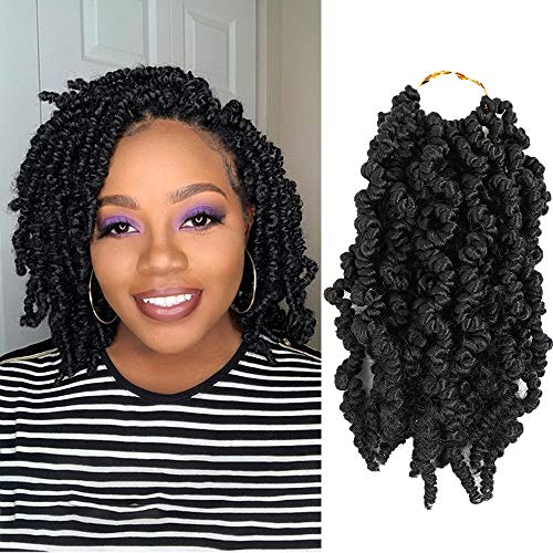7 Packs Pre-twisted Spring Twist Hair 10 Inch Crochet Hair Braids Short Curly Passion Twists Braiding Hair Extensions 15 Strands/Pack(1B)
