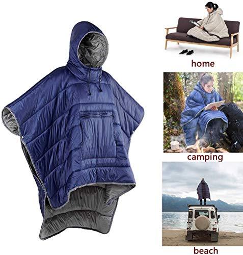 MMW Honcho Poncho - Manta con capucha para acampada, saco de dormir de invierno al aire libre, capa de capa de abrigo, climas extremos, impermeable/resistente al viento, manta con capucha con saco de cosas