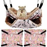 Guador Hamaca para Hámster, 3 Piezas Cama Colgante de Doble Capa para Colgar Hamaca Jaula para Mascotas Suave Cómoda para Mascotas para Cobaya Cerdo Chinchilla Gato Hurón Ratón Conejo (Rosa)