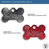 Schlüsselanhänger - Hundemarke mit Gravur - ID Tag - Adressanhänger - Adressschild - Individuelle - Personalisiert - Diamantgravur (Silber)