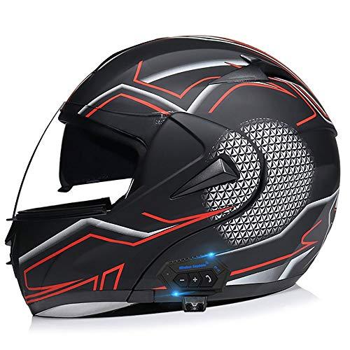 BDTOT Bluetooth Casco Motocicleta Modular Flip Up Casco para Moto ECER 22-05 Aprobado Doble Visera Anti Niebla HD Reducción de Ruido con Altavoz Incorporado para Adultos 55-62cm
