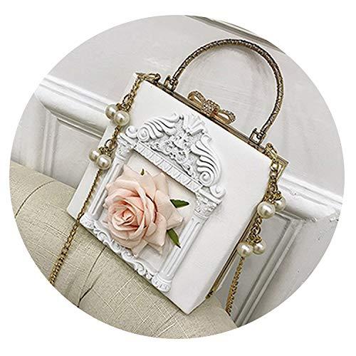 Vintage Baroque Flower Embossed Leather Box Style Handbag Women Pearl Chain Messenger Pu Shoulder Bag Mini Lady Crossbody Bag,White